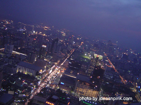 View from the Revolving Roof Deck at the 84th floor of Baiyoke Sky Hotel