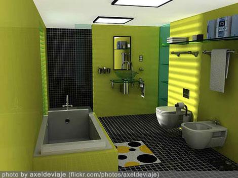 bathroom design interior - green theme