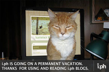 """i.ph shutdown graphic - """"i.ph is going on a permanent vacation..."""""""