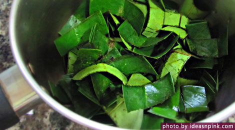 Graviola tea leaves preparation for boiling in pot